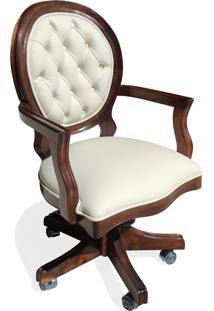 Cadeira Com Braço Giratória Imperial Madeira Maciça Design Clássico Peça Artesanal