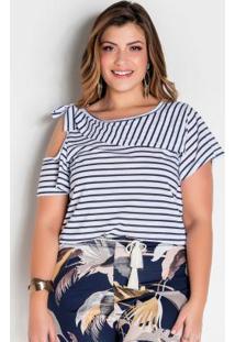 Blusa Listrada Plus Size Com Vazado E Babado