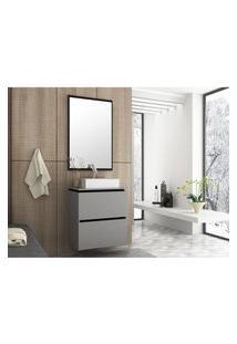 Conjunto Banheiro 60 Cm Argento E Preto Em Mdf Lilies Móveis