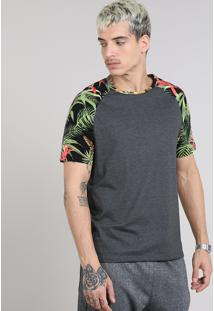 Camiseta Masculina Raglan Com Estampa Tropical Manga Curta Gola Careca Cinza Mescla Escuro
