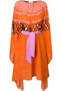 Fendi Vestido Pelerine Estampado - Laranja