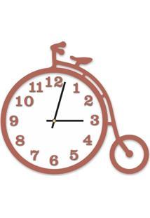 Relógio De Parede Decorativo Escultura Bicicleta Cobre Metalizado Com Detalhe Branco 36X40Cm Grande