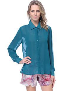 Camisa Energia Fashion Hot Fix Punho Azul Escuro