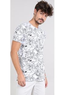 Camiseta Masculina Estampada Tropical Manga Curta Gola Careca Branca