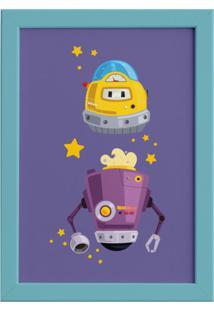 Quadro Infantil Robôs Amigos Moldura Azul 22X32Cm