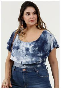 Body Feminino Estampa Tie Dye Babado Plus Size Marisa