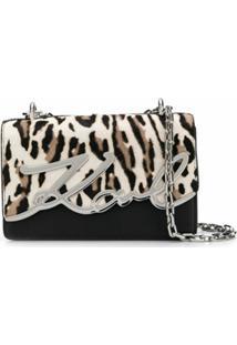 Karl Lagerfeld Bolsa Tiracolo K/Signature Com Estampa De Leopardo - Preto