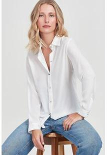 Camisa Pesponto Rubinella Contrastante Feminina - Feminino-Off White
