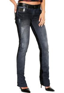 Calça Jeans Lança Perfume Bootcut Renda Azul
