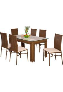 Conjunto Mesa Com 6 Cadeiras Milão - Metal Do Brasil - Avela Envelhecido