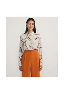 Camisa Manga Longa Estampada Com Amarração | Cortelle | Branco | Pp