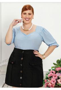 Blusa Plus Size Azul Claro Com Elástico No Busto