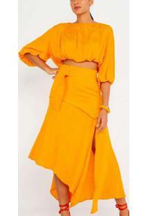 Blusa Cropped Com Franzidos Amarelo Amarelo