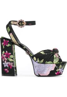 Dolce & Gabbana Sandália Plataforma Com Estampa Floral - Preto