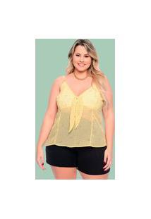 Blusa Almaria Plus Size Plump Nó Frontal Amarelo