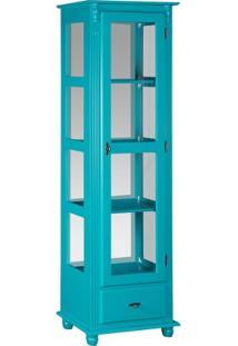 Cristaleira Estante Torre Max Com Espelho - Azul