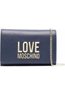 Love Moschino Clutch Com Placa De Logo - Azul