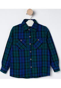 Camisa Xadrez Com Bolsos- Azul & Verde- Bakulelêbakulelê