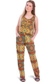 Macacão Tok Fashion Longo Estampa Étnica Laranja