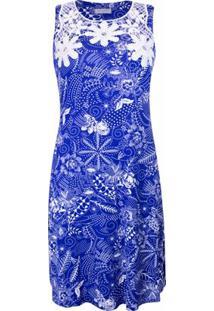 Vestido Pau A Pique - Feminino-Azul