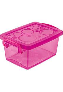 Caixa Organizadora Com Trava 650Ml Pink Ordene