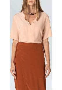 Blusa Decote V Silk-Rosa Claro - P