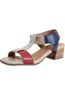 Sandalia Laura Prado Confort Marfim/Vermelho/Marinho