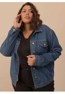 Jaqueta Jeans Plus Size Azul-48 Azul