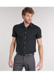 Camisa Masculina Comfort Manga Curta Com Bolso Preta