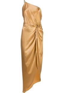 Michelle Mason Vestido Assimétrico Com Nó - Amarelo