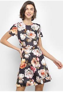 Vestido Lança Perfuma Evasê Curto Floral - Feminino-Preto+Rosa