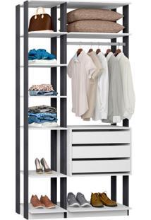 Guarda-Roupa Solteiro Modulado Clothes I 3 Gv Branco E Espresso