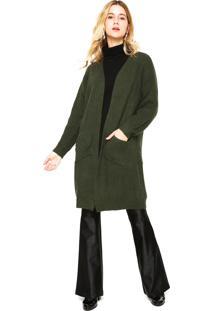 Maxi Cardigan Fiveblu Tricot Bolsos Verde