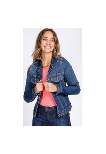 Jaqueta Jeans Bloom Celyna Clássica Azul Médio