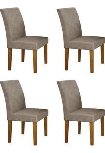 Conjunto Com 4 Cadeiras Olímpia Imbuia Mel E Cinza