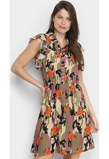 Vestido Pérola Curto Camuflado Com Botões - Feminino-Laranja