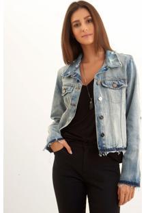 Jaqueta Le Lis Blanc Sem Punho Jeans Azul Feminina