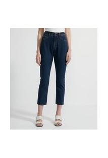 Calça Mom Jeans Com Cintura Alta E Abotoamento Duplo