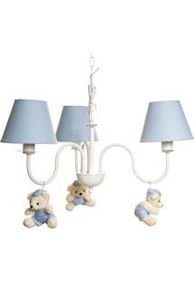 Lustre 3L Simples Com 3 Ursinhos De Boné Bebê Infantil Potinho De Mel Azul