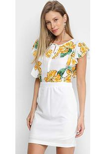 Vestido Saia Pérola Curto Floral - Feminino-Branco