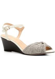 Sandália Anabela Shoestock Nó Feminina - Feminino-Off White+Preto