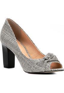 addd923f36 ... Peep Toe Shoestock Salto Grosso Nó - Feminino-Off White+Preto
