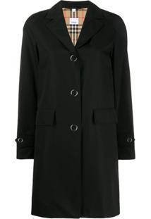 Burberry Trench Coat Com Abotoamento Simples - Preto