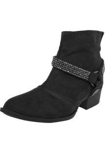 Bota Dafiti Shoes Cano Curto Strass Preto