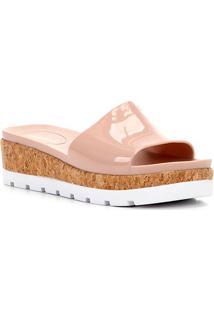 Sandália Flatform Shoestock Slide Cortiça Feminina - Feminino-Nude