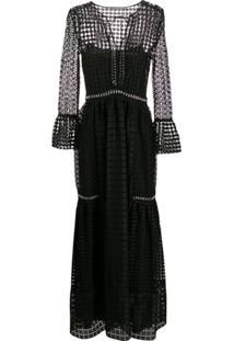 Alberta Ferretti Vestido De Festa Translúcido Com Padronagem - Preto
