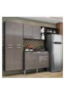 Cozinha Compacta C/ 2 Leds Armário E Balcão Com Tampo Pequim Sun Multimóveis Preta/Lacca Fumê