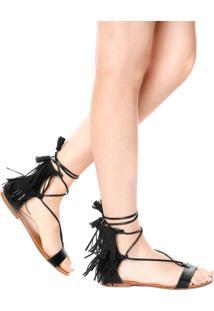 Sandália Rasteira Dafiti Shoes Franja Tassel Preta