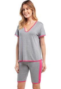 Pijama Com Bermuda Mescla Com Rosa Cinza - Kanui
