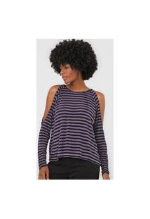 Blusa Calvin Klein Jeans Recorte Ombros Roxa/Preto